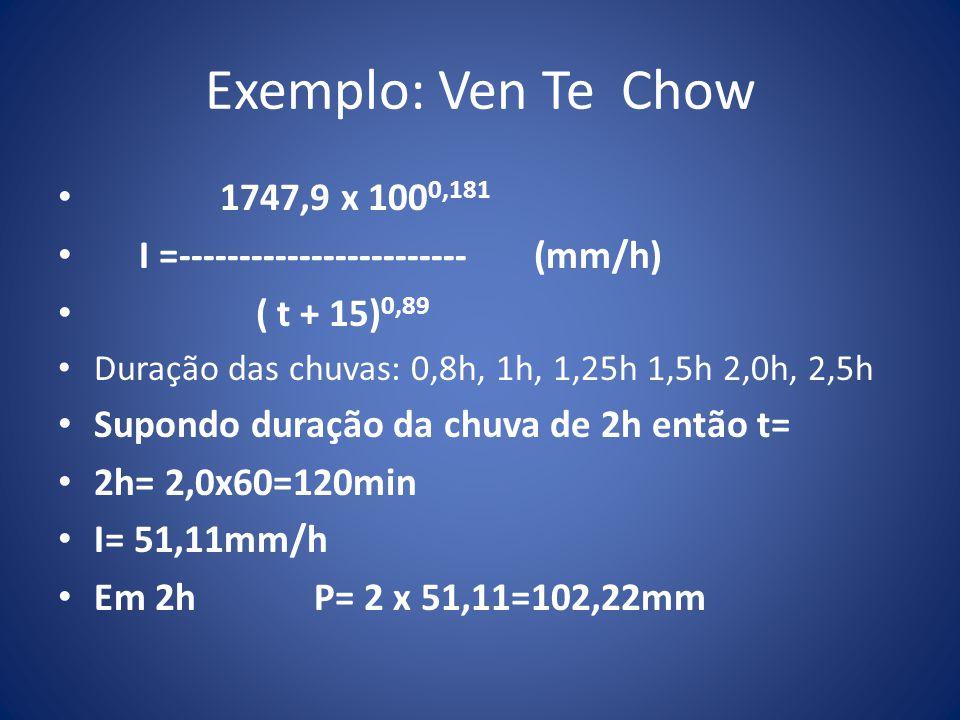 Exemplo: Ven Te Chow 1747,9 x 100 0,181 I =------------------------ (mm/h) ( t + 15) 0,89 Duração das chuvas: 0,8h, 1h, 1,25h 1,5h 2,0h, 2,5h Supondo