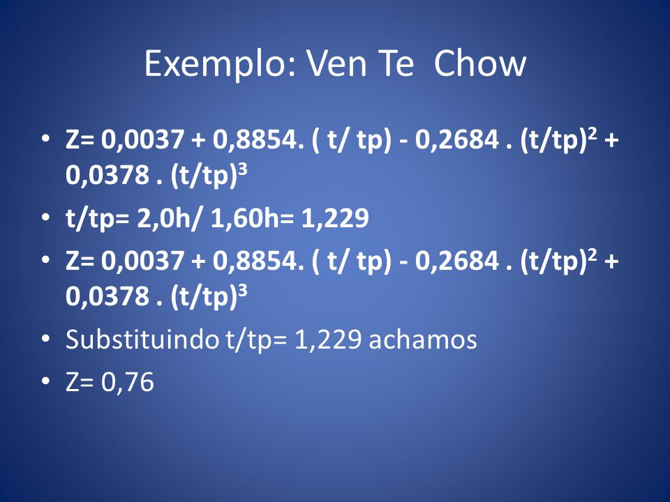 Exemplo: Ven Te Chow Z= 0,0037 + 0,8854. ( t/ tp) - 0,2684. (t/tp) 2 + 0,0378. (t/tp) 3 t/tp= 2,0h/ 1,60h= 1,229 Z= 0,0037 + 0,8854. ( t/ tp) - 0,2684