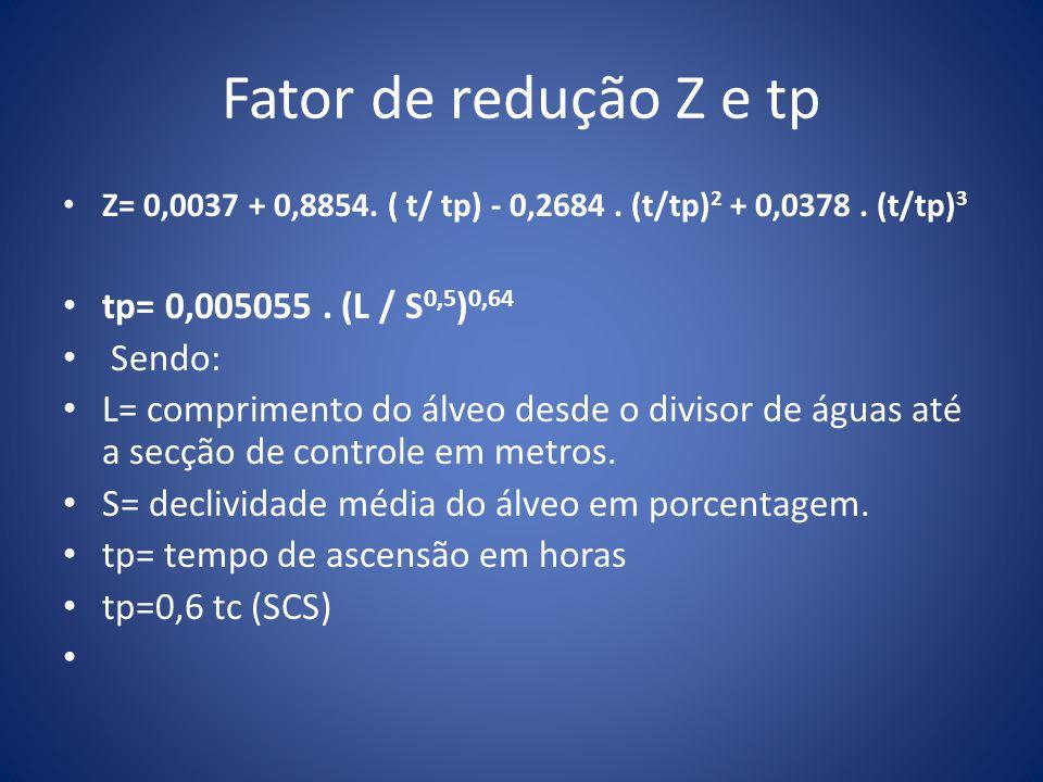 Fator de redução Z e tp Z= 0,0037 + 0,8854. ( t/ tp) - 0,2684. (t/tp) 2 + 0,0378. (t/tp) 3 tp= 0,005055. (L / S 0,5 ) 0,64 Sendo: L= comprimento do ál