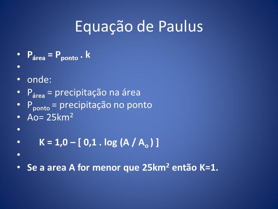 Equação de Paulus P área = P ponto. k onde: P área = precipitação na área P ponto = precipitação no ponto Ao= 25km 2 K = 1,0 – [ 0,1. log (A / A o ) ]