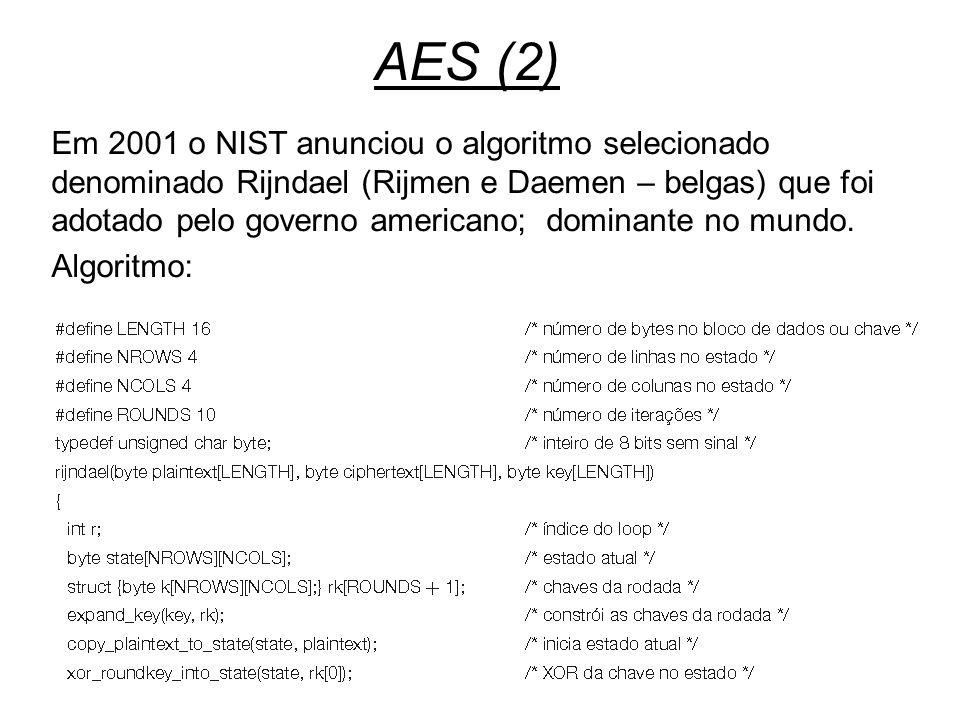 Segurança14 AES (2) Em 2001 o NIST anunciou o algoritmo selecionado denominado Rijndael (Rijmen e Daemen – belgas) que foi adotado pelo governo americ