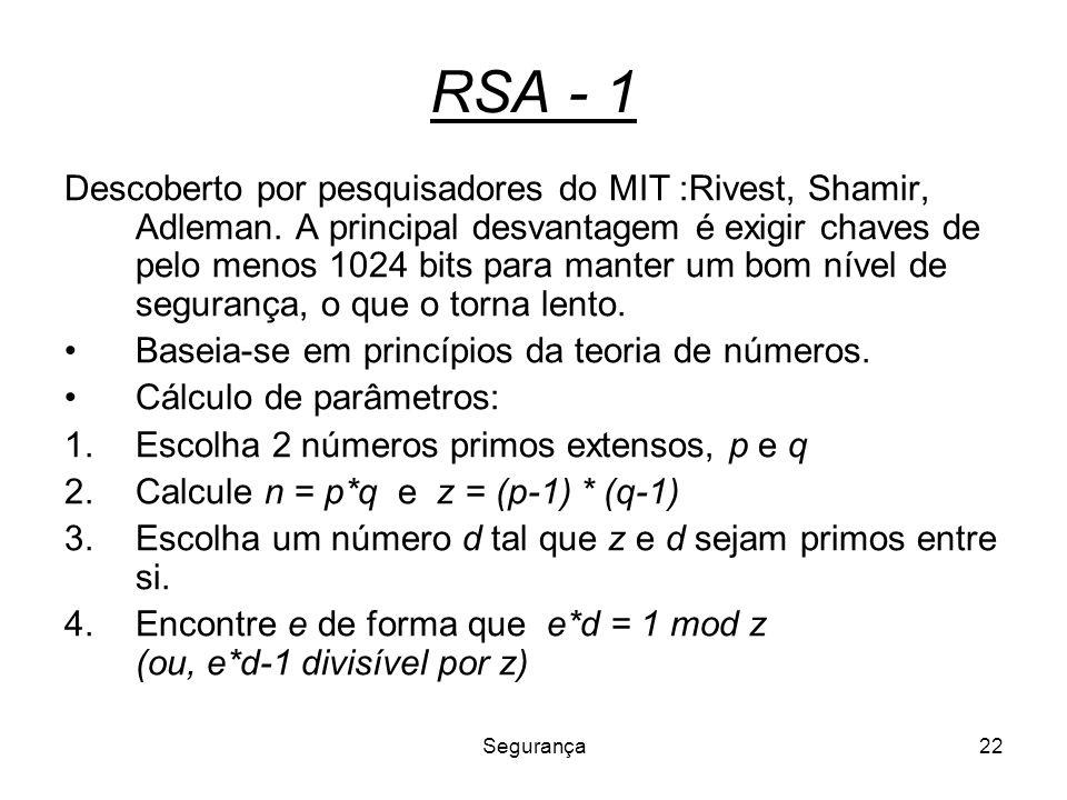 Segurança22 RSA - 1 Descoberto por pesquisadores do MIT :Rivest, Shamir, Adleman. A principal desvantagem é exigir chaves de pelo menos 1024 bits para