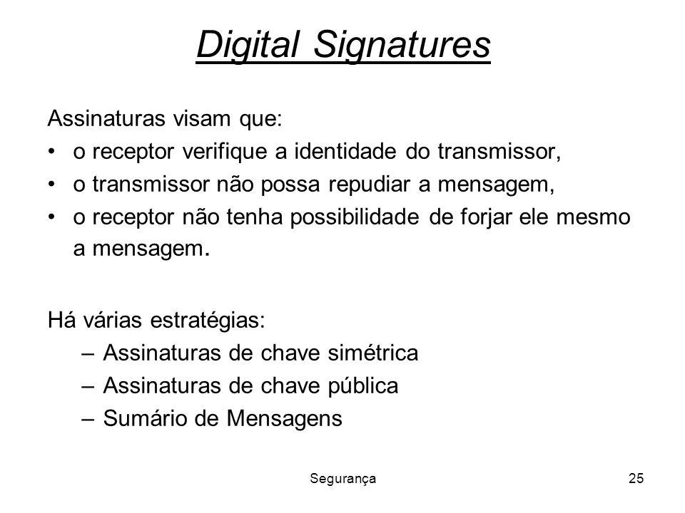 Segurança25 Digital Signatures Assinaturas visam que: o receptor verifique a identidade do transmissor, o transmissor não possa repudiar a mensagem, o
