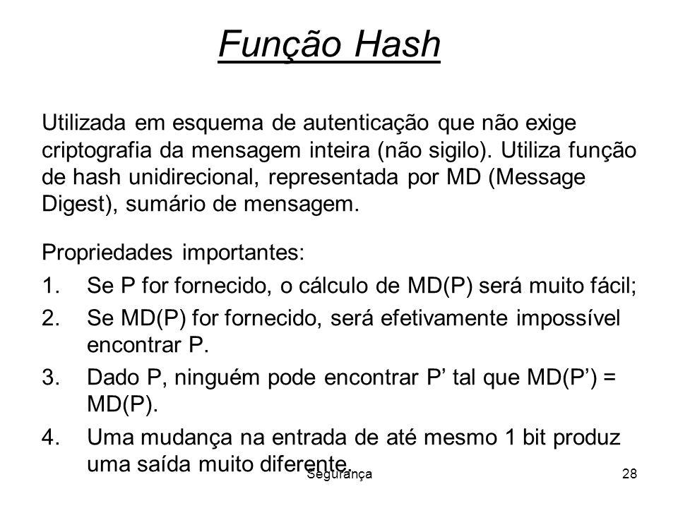 Segurança28 Função Hash Utilizada em esquema de autenticação que não exige criptografia da mensagem inteira (não sigilo). Utiliza função de hash unidi