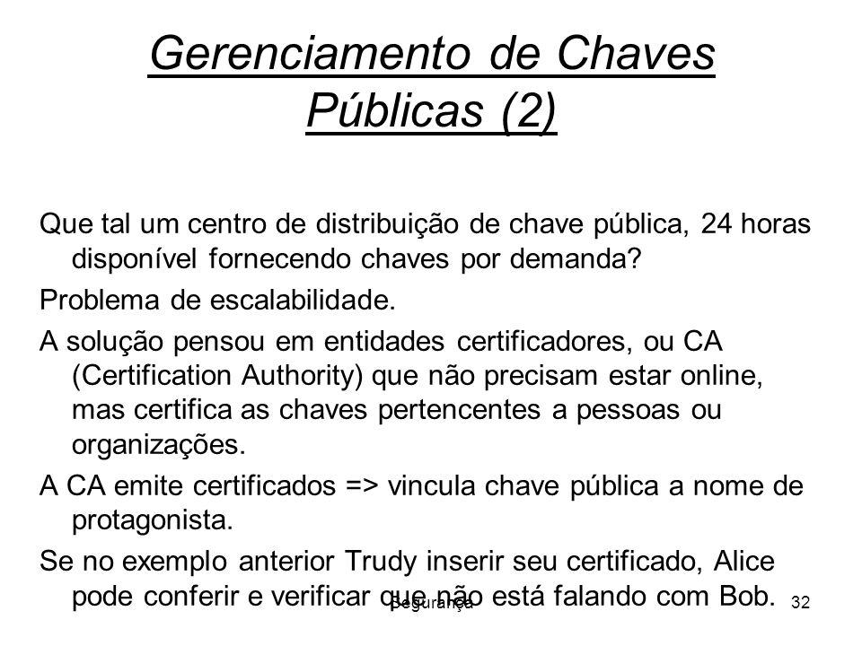 Segurança32 Gerenciamento de Chaves Públicas (2) Que tal um centro de distribuição de chave pública, 24 horas disponível fornecendo chaves por demanda