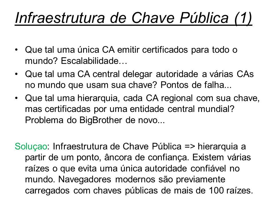 Segurança35 Infraestrutura de Chave Pública (1) Que tal uma única CA emitir certificados para todo o mundo? Escalabilidade… Que tal uma CA central del