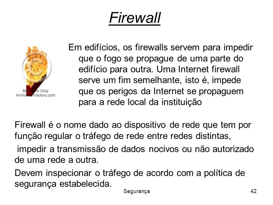 Segurança42 Firewall Em edifícios, os firewalls servem para impedir que o fogo se propague de uma parte do edifício para outra. Uma Internet firewall