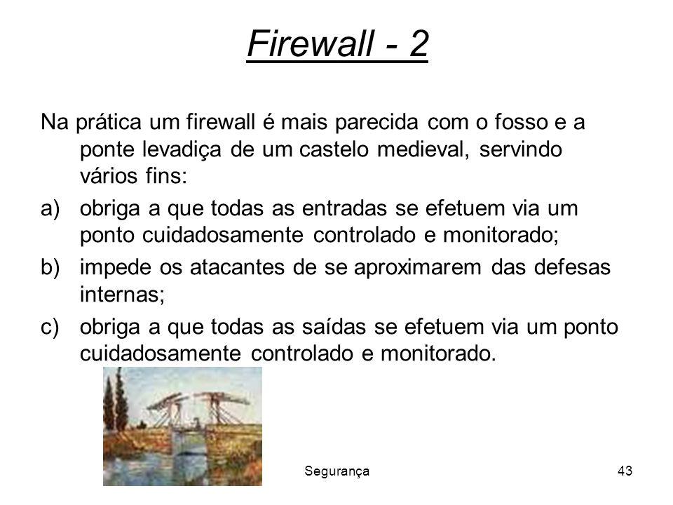 Segurança43 Firewall - 2 Na prática um firewall é mais parecida com o fosso e a ponte levadiça de um castelo medieval, servindo vários fins: a)obriga