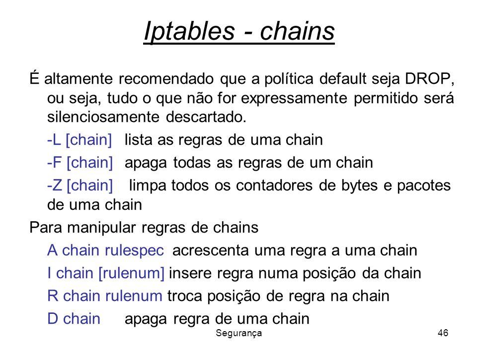 Segurança46 Iptables - chains É altamente recomendado que a política default seja DROP, ou seja, tudo o que não for expressamente permitido será silen