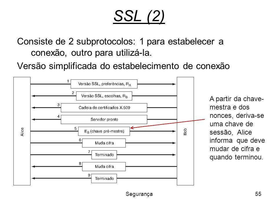 Segurança55 SSL (2) Consiste de 2 subprotocolos: 1 para estabelecer a conexão, outro para utilizá-la. Versão simplificada do estabelecimento de conexã