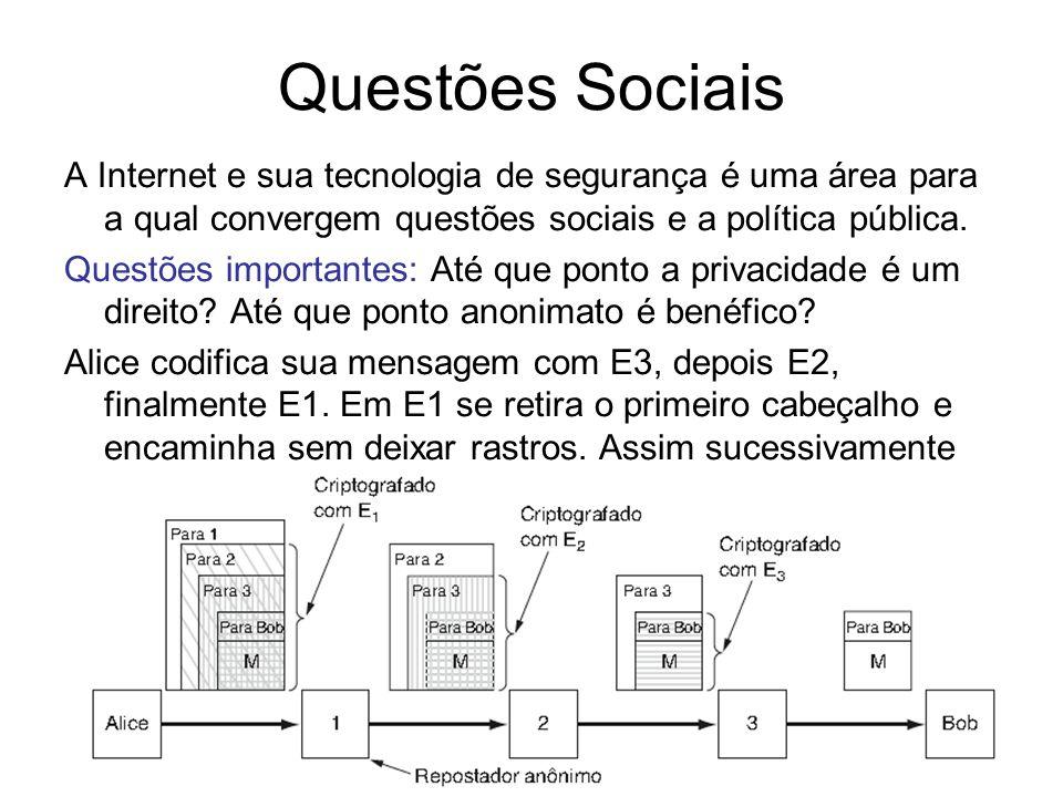 Segurança57 Questões Sociais A Internet e sua tecnologia de segurança é uma área para a qual convergem questões sociais e a política pública. Questões