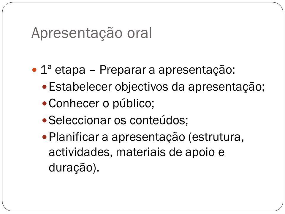 1ª etapa – Preparar a apresentação: Estabelecer objectivos da apresentação; Conhecer o público; Seleccionar os conteúdos; Planificar a apresentação (e