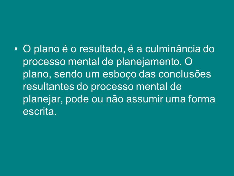 O plano é o resultado, é a culminância do processo mental de planejamento. O plano, sendo um esboço das conclusões resultantes do processo mental de p