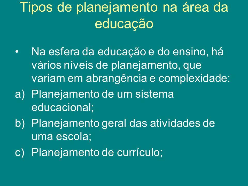Tipos de planejamento na área da educação Na esfera da educação e do ensino, há vários níveis de planejamento, que variam em abrangência e complexidad
