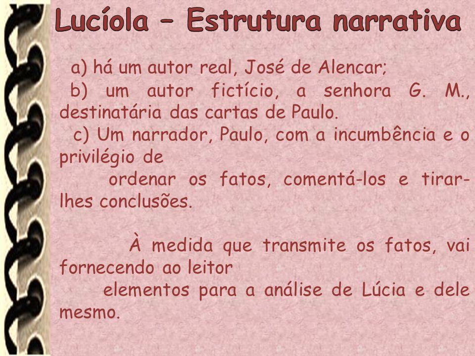 a) há um autor real, José de Alencar; b) um autor fictício, a senhora G. M., destinatária das cartas de Paulo. c) Um narrador, Paulo, com a incumbênci
