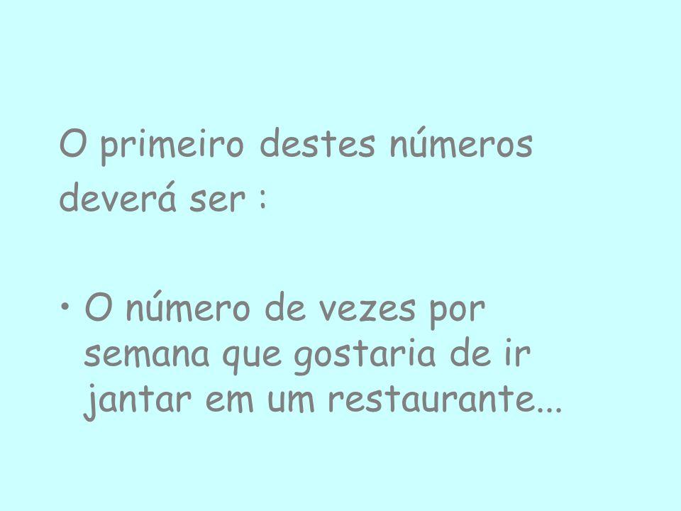 O primeiro destes números deverá ser : O número de vezes por semana que gostaria de ir jantar em um restaurante...