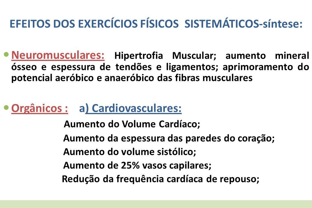 EFEITOS DOS EXERCÍCIOS FÍSICOS SISTEMÁTICOS-síntese: Neuromusculares: Hipertrofia Muscular; aumento mineral ósseo e espessura de tendões e ligamentos;