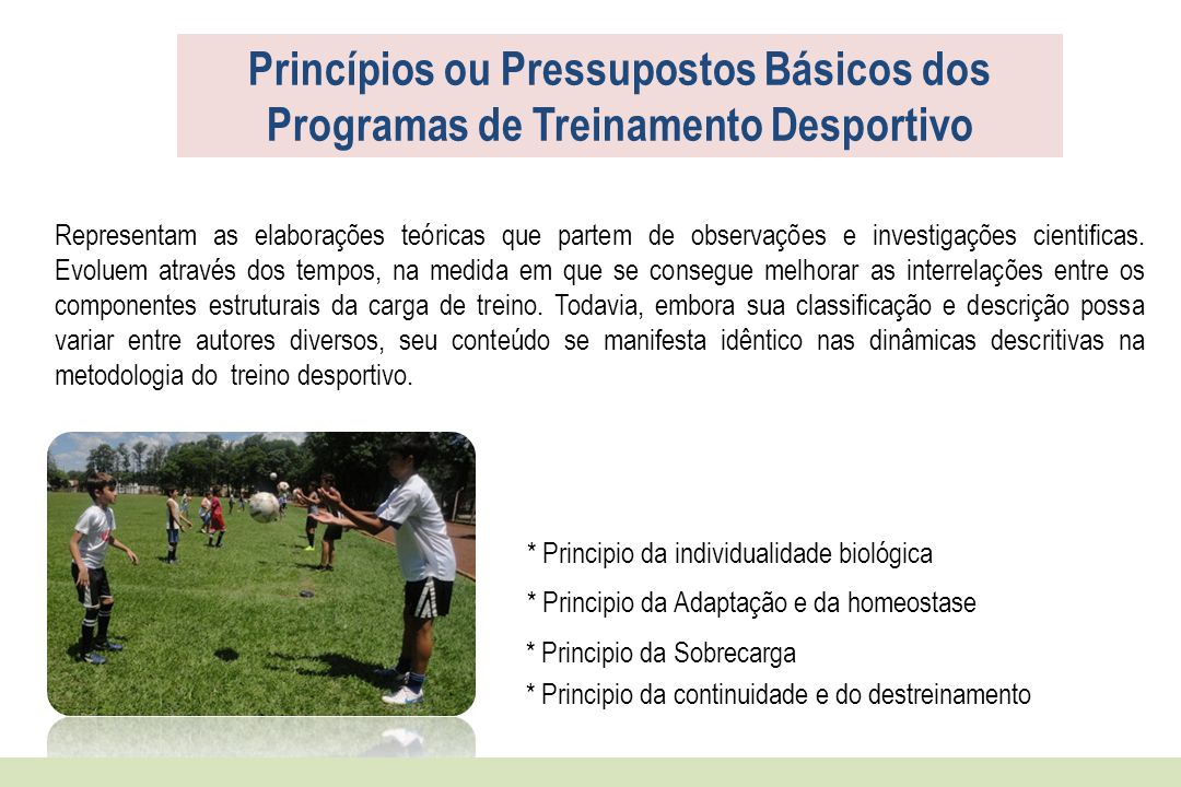 Princípios ou Pressupostos Básicos dos Programas de Treinamento Desportivo Representam as elaborações teóricas que partem de observações e investigaçõ