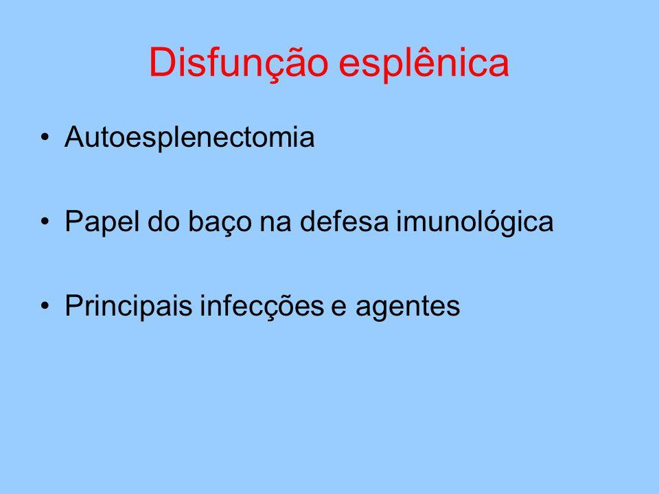 Disfunção esplênica Autoesplenectomia Papel do baço na defesa imunológica Principais infecções e agentes