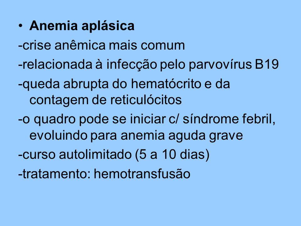 Anemia aplásica -crise anêmica mais comum -relacionada à infecção pelo parvovírus B19 -queda abrupta do hematócrito e da contagem de reticulócitos -o quadro pode se iniciar c/ síndrome febril, evoluindo para anemia aguda grave -curso autolimitado (5 a 10 dias) -tratamento: hemotransfusão