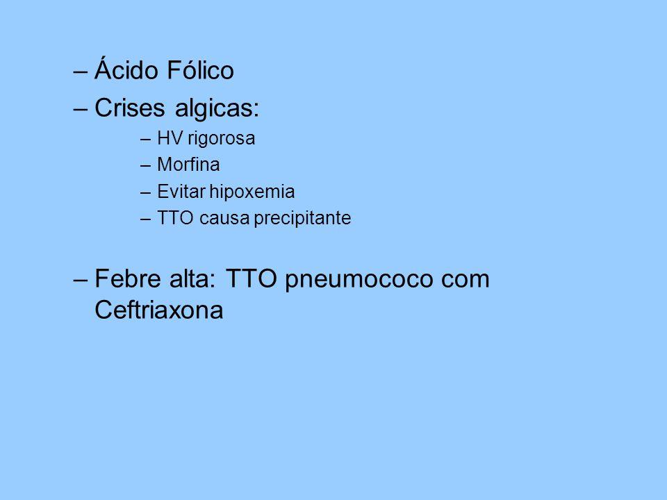 –Ácido Fólico –Crises algicas: –HV rigorosa –Morfina –Evitar hipoxemia –TTO causa precipitante –Febre alta: TTO pneumococo com Ceftriaxona