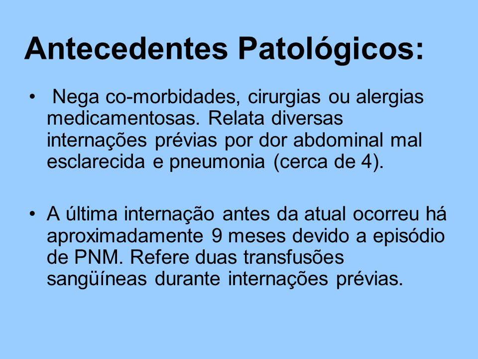 Antecedentes Patológicos: Nega co-morbidades, cirurgias ou alergias medicamentosas.