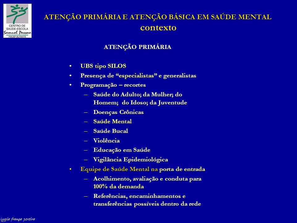 lygia frança pereira ATENÇÃO PRIMÁRIA E ATENÇÃO BÁSICA EM SAÚDE MENTAL ATENÇÃO PRIMÁRIA E ATENÇÃO BÁSICA EM SAÚDE MENTAL contexto ATENÇÃO PRIMÁRIA UBS tipo SILOSUBS tipo SILOS Presença de especialistas e generalistasPresença de especialistas e generalistas Programação – recortesProgramação – recortes –Saúde do Adulto; da Mulher; do Homem; do Idoso; da Juventude –Doenças Crônicas –Saúde Mental –Saúde Bucal –Violência –Educação em Saúde –Vigilância Epidemiológica Equipe de Saúde Mental na porta de entradaEquipe de Saúde Mental na porta de entrada –Acolhimento, avaliação e conduta para 100% da demanda –Referências, encaminhamentos e transferências possíveis dentro da rede