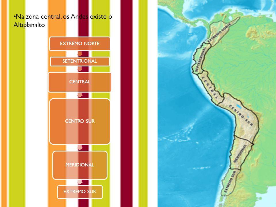 Na zona central, os Andes existe o Altiplanalto EXTREMO NORTE SETENTRIONAL CENTRAL CENTRO SUR MERIDIONAL EXTREMO SUR