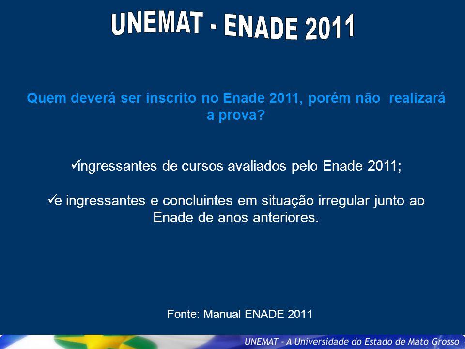 Quem deverá ser inscrito no Enade 2011, porém não realizará a prova? ingressantes de cursos avaliados pelo Enade 2011; e ingressantes e concluintes em