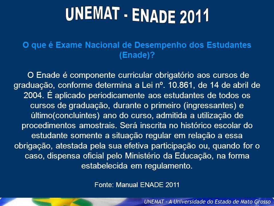 Quem deverá ser inscrito no Enade 2011, porém não realizará a prova.