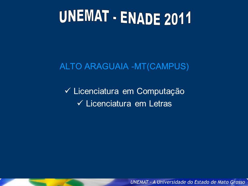 ALTO ARAGUAIA -MT(CAMPUS) Licenciatura em Computação Licenciatura em Letras