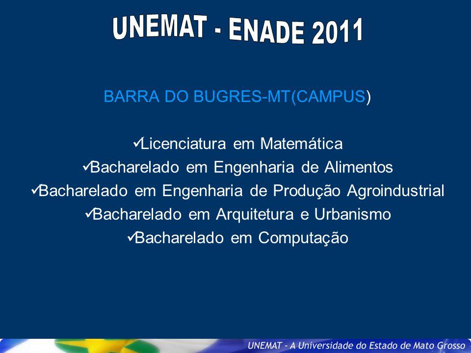 BARRA DO BUGRES-MT(CAMPUS) Licenciatura em Matemática Bacharelado em Engenharia de Alimentos Bacharelado em Engenharia de Produção Agroindustrial Bach