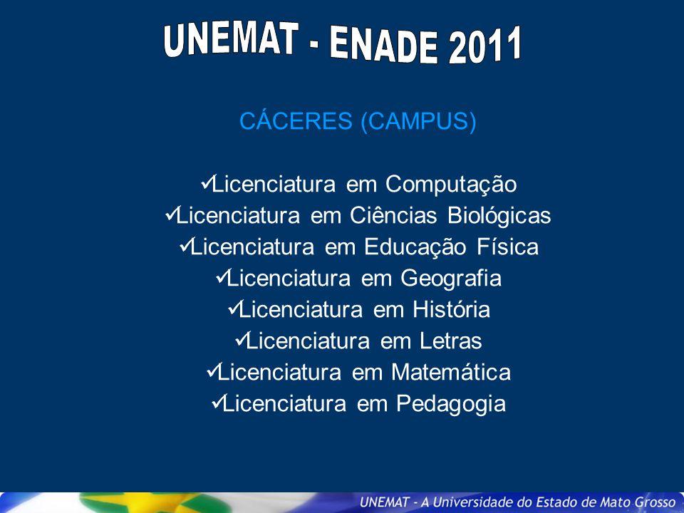 CÁCERES (CAMPUS) Licenciatura em Computação Licenciatura em Ciências Biológicas Licenciatura em Educação Física Licenciatura em Geografia Licenciatura