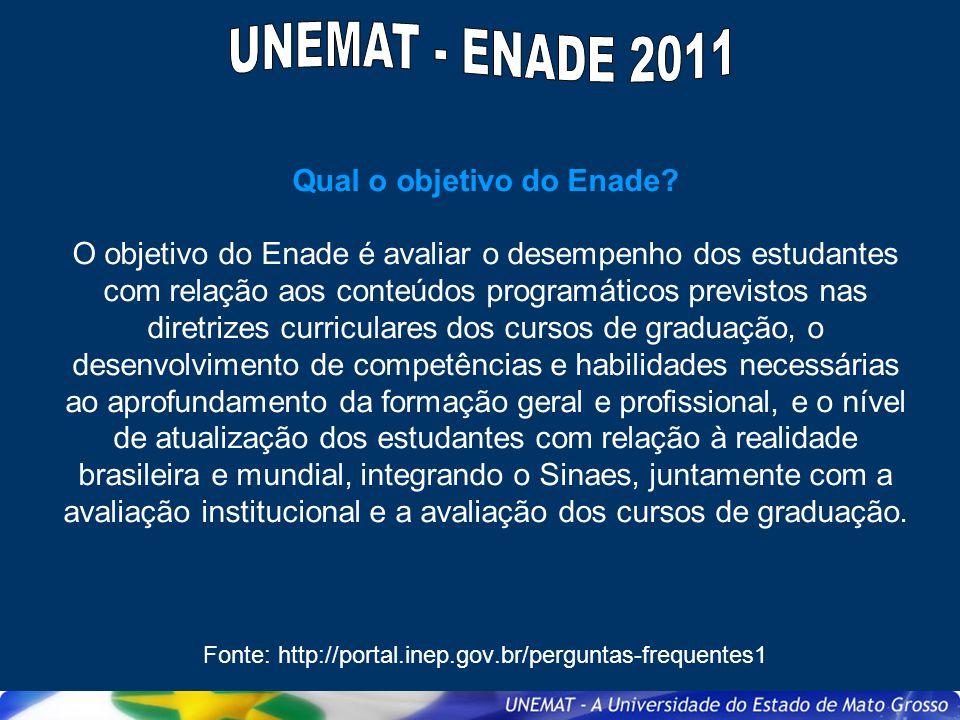 Quais cursos serão avaliados pelo Enade em 2011.