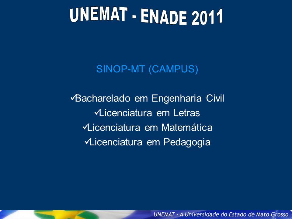 SINOP-MT (CAMPUS) Bacharelado em Engenharia Civil Licenciatura em Letras Licenciatura em Matemática Licenciatura em Pedagogia