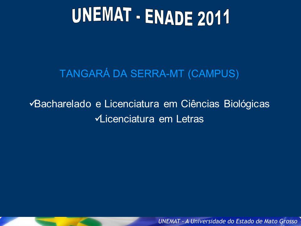 TANGARÁ DA SERRA-MT (CAMPUS) Bacharelado e Licenciatura em Ciências Biológicas Licenciatura em Letras