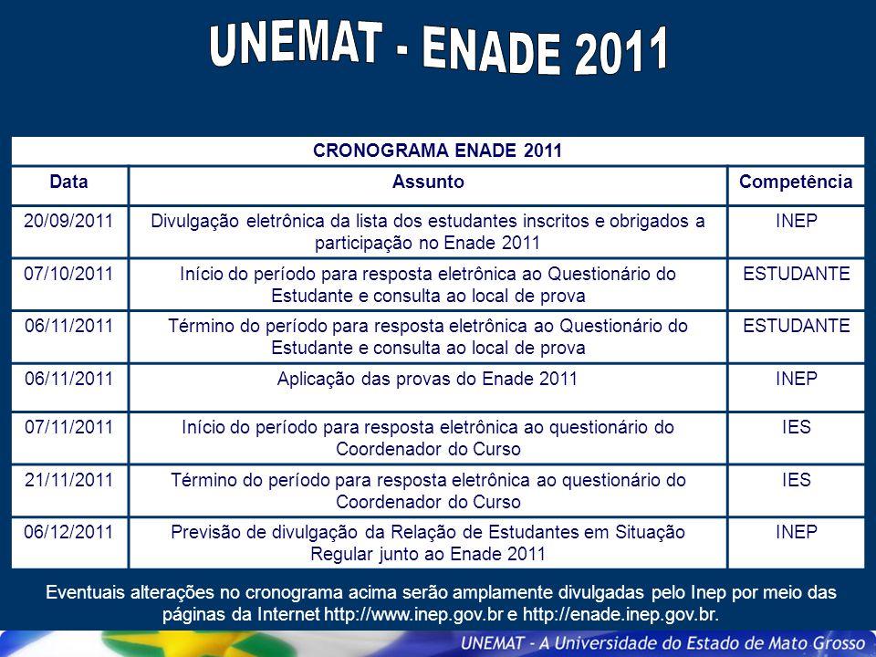 CRONOGRAMA ENADE 2011 DataAssuntoCompetência 20/09/2011Divulgação eletrônica da lista dos estudantes inscritos e obrigados a participação no Enade 201