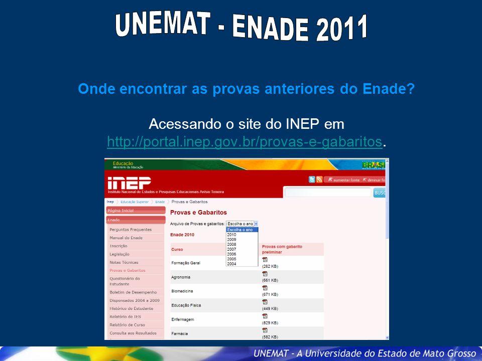 Onde encontrar as provas anteriores do Enade? Acessando o site do INEP em http://portal.inep.gov.br/provas-e-gabaritos. http://portal.inep.gov.br/prov