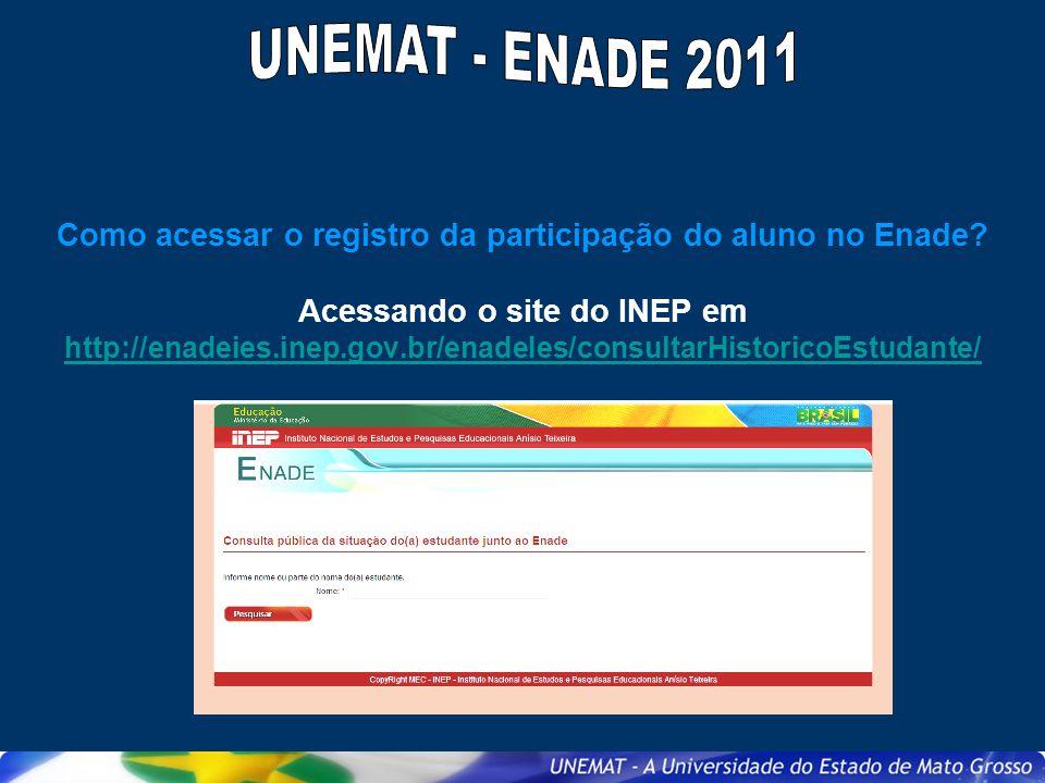 Como acessar o registro da participação do aluno no Enade? Acessando o site do INEP em http://enadeies.inep.gov.br/enadeIes/consultarHistoricoEstudant