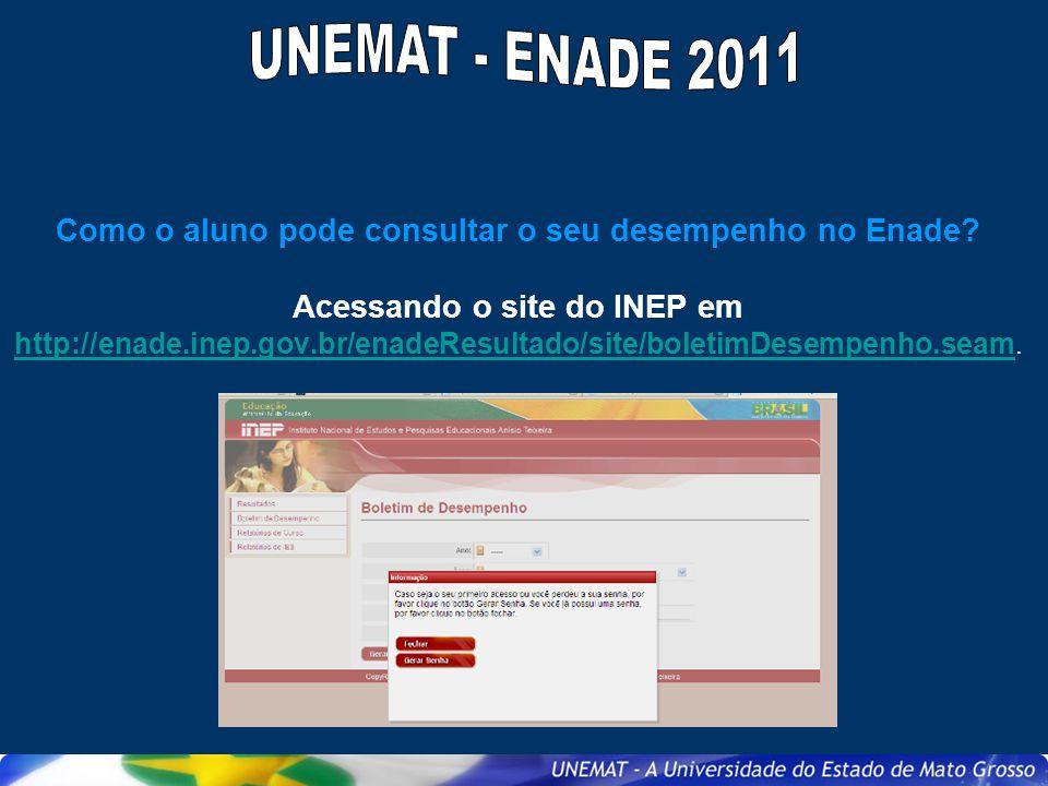 Como o aluno pode consultar o seu desempenho no Enade? Acessando o site do INEP em http://enade.inep.gov.br/enadeResultado/site/boletimDesempenho.seam