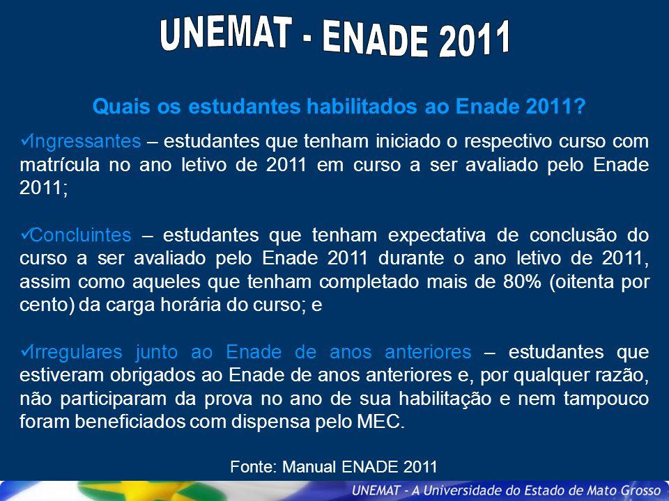 Quando será realizado o Enade 2011.