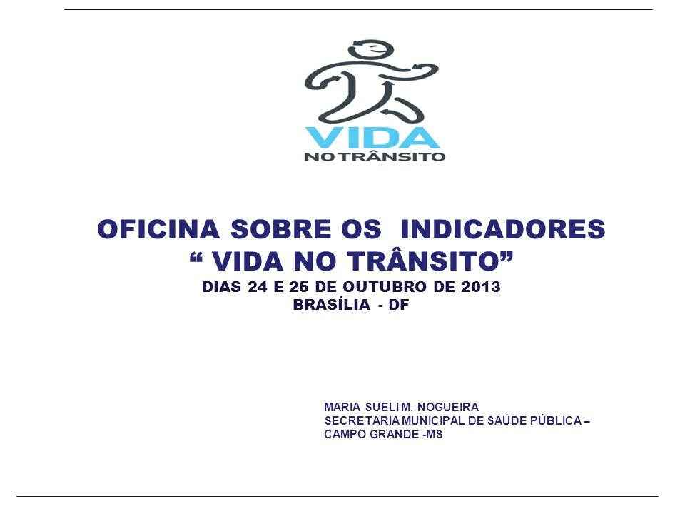 OFICINA SOBRE OS INDICADORES VIDA NO TRÂNSITO DIAS 24 E 25 DE OUTUBRO DE 2013 BRASÍLIA - DF MARIA SUELI M.