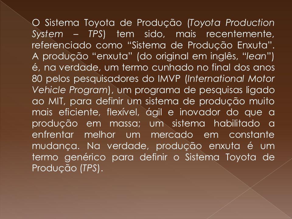 """O Sistema Toyota de Produção (Toyota Production System – TPS) tem sido, mais recentemente, referenciado como """"Sistema de Produção Enxuta"""". A produção"""