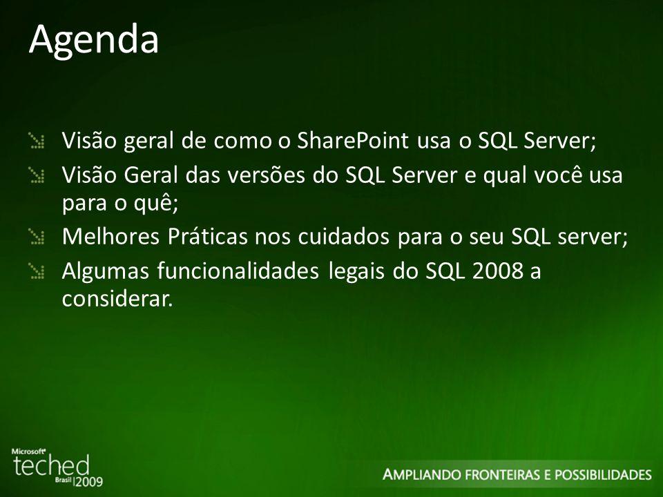 Agenda Visão geral de como o SharePoint usa o SQL Server; Visão Geral das versões do SQL Server e qual você usa para o quê; Melhores Práticas nos cuidados para o seu SQL server; Algumas funcionalidades legais do SQL 2008 a considerar.