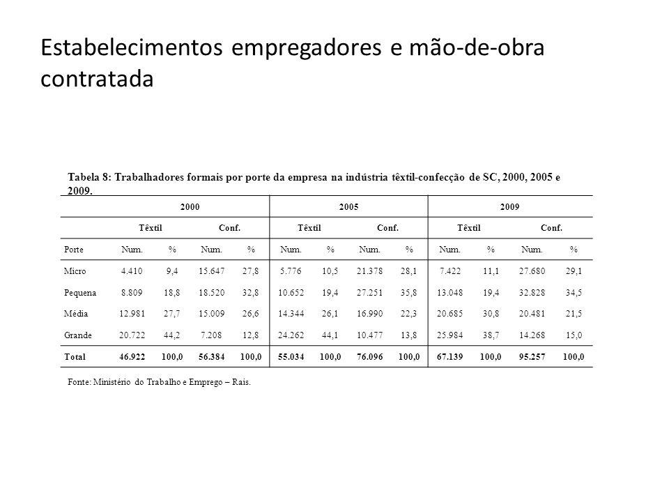 Estabelecimentos empregadores e mão-de-obra contratada Fonte: Ministério do Trabalho e Emprego – Rais. 200020052009 TêxtilConf.TêxtilConf.TêxtilConf.