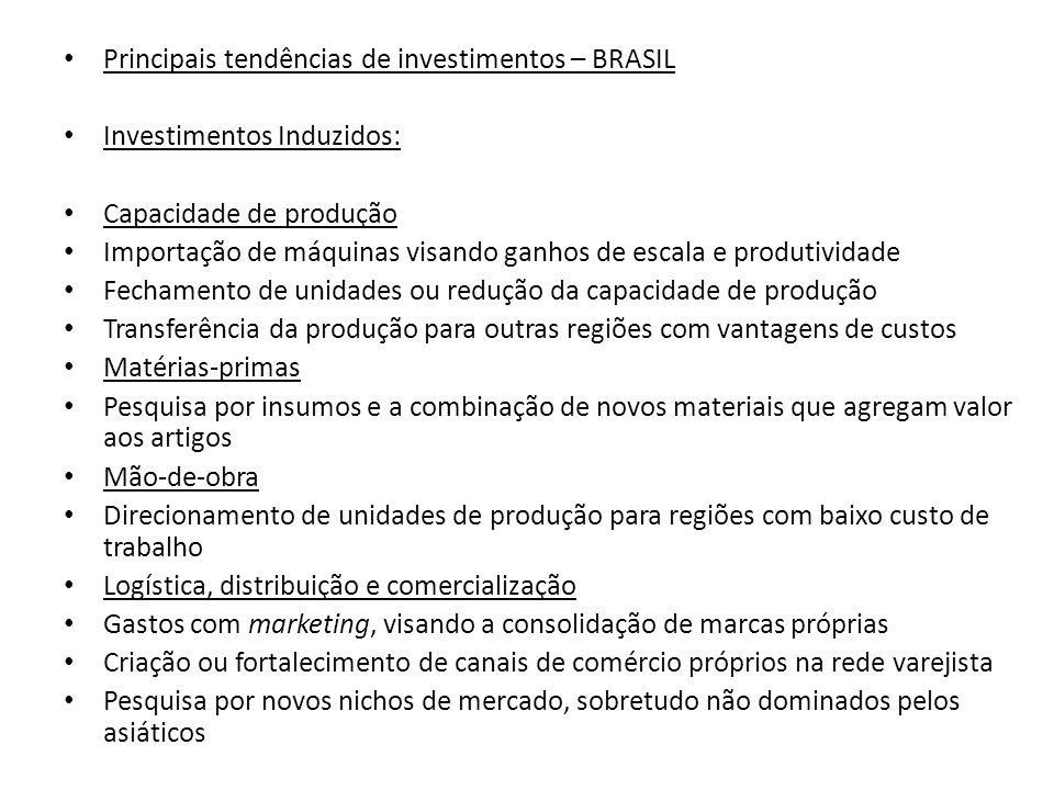 Principais tendências de investimentos – BRASIL Investimentos Induzidos: Capacidade de produção Importação de máquinas visando ganhos de escala e prod