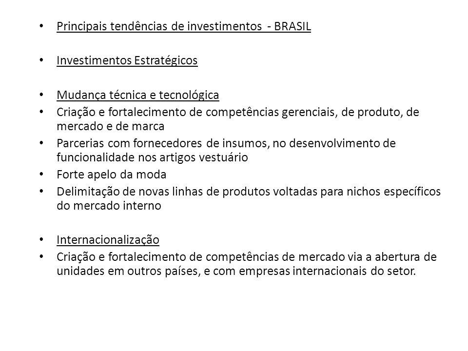 Principais tendências de investimentos - BRASIL Investimentos Estratégicos Mudança técnica e tecnológica Criação e fortalecimento de competências gere