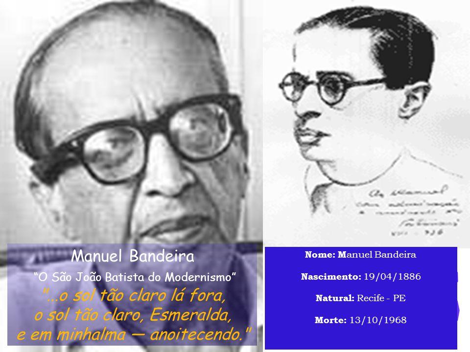 Manuel Bandeira (Manuel Carneiro de Souza Bandeira, Recife, 1886-Rio de Janeiro, 1968).