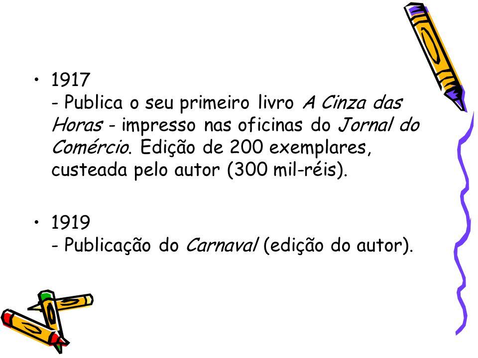 Participou da Semana da Arte Moderna através do poema os sapos que foi declamado por Ronald de Carvalho Teatro Municipal de São Paulo: palco da Semana de Arte Moderna Museu de Arte Moderna de São Paulo MAM