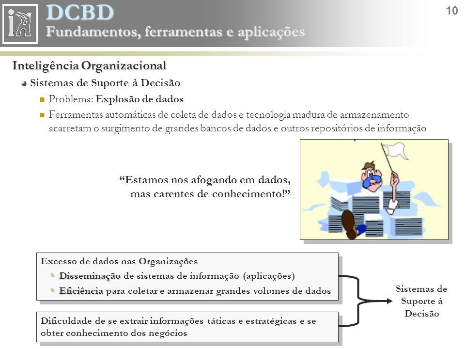 DCBD 10 Fundamentos, ferramentas e aplicações Inteligência Organizacional Sistemas de Suporte à Decisão Problema: Explosão de dados Ferramentas automá